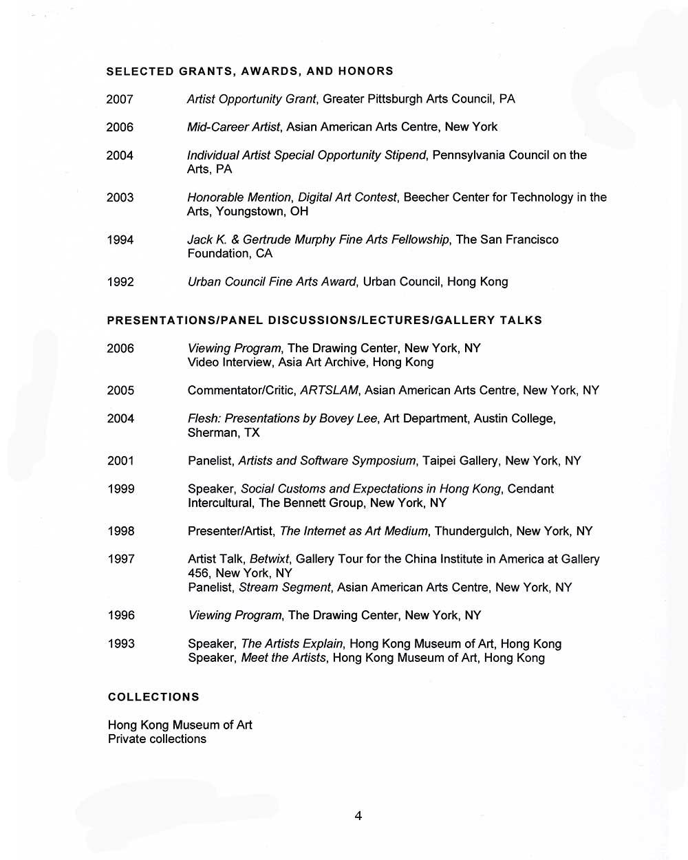 Bovey Lee's Resume, pg 4